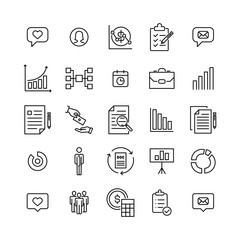Set of premium business icons in line style.