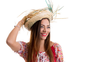 Brazilian woman wearing traditional costume for Junina Party
