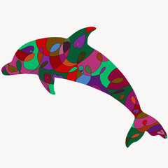 Silhouette of a delfin with a romantic colorful pattern