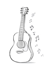 Guitar sketch drawing with music notes. Instrument and melody in doodle style. Acoustic folk song design for concert.