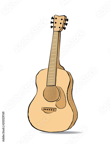 Guitar sketch drawing  Instrument and music in doodle style