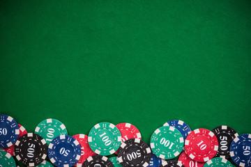 Poker casino chips border background