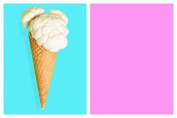 Cauliflower ice cone, summer diet concept