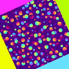 Colorful gradient balls on purple background. Abstract geometric background with different circles. Bright neon colors, 90s style. Vector illustration. Colorful web banner background.