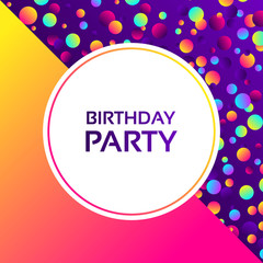 Colorful gradient balls on purple background. Abstract geometric background with different circles. Bright neon colors, 90s style. Vector illustration. Birthday party poster.