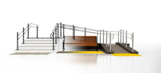 Accessibilità per disabili, sedia a rotelle, barriere architettoniche, illustrazione 3d