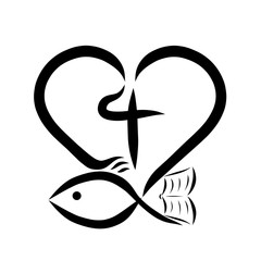 Heart, cross, bible and fish, Christianity