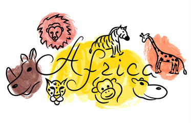 Africa savannah animals sketch with watercolor grunge vector illustration