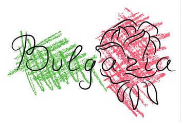 Bulgaria rose sketch with color pencil grunge vector illustration