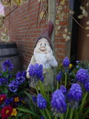 Alter verwitterter Gartenzwerg steht vor einer Ziegelmauer in einem Blumenbeet