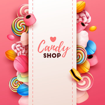 Colorful  background with sweets. Vector Illustration