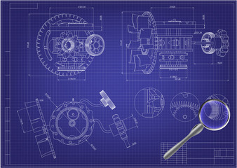 Drawing and 3d model gear mechanism on a blue