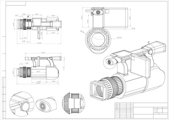 3d model of the camera on a white