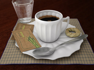 coffee cup with biscuit, spoon and glass of sparkling water on checked tablecloth and wooden table, 3d illustration