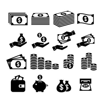 Financial icon set. Money icons. Money stack, coin stack, piggy bank, wallet with money, cash payment, hand holding money icons.