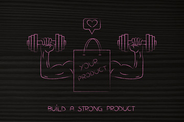 strong product shopping bag with muscled arms holding dumbbells