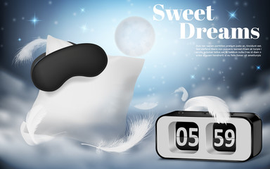 Vector promotion banner with realistic white pillow, blindfold and alarm clock on blue night background with clouds. Cushion and black mask, bedroom accessories for comfortable rest and sweet dreams