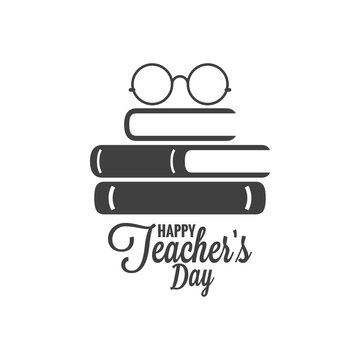 Happy teachers day icon. Glasses and book logo on white background