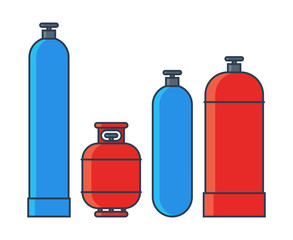 Gas tanks set. Various gas tanks in flat line style. Vector illustration