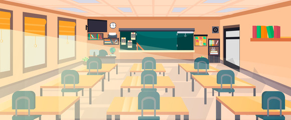 Vector classroom interior at the school, university, institute, college. Educational concept, blackboard, desks, office supplies. Training room illustration. Lesson for teaching and learning.