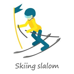 Skiing slalom icon. Isometric of skiing slalom vector icon for web design isolated on white background