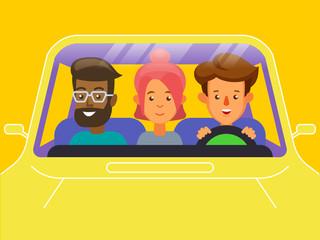 Carpool. Car sharing concept banner.