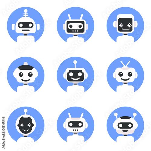 Chatbot symbol, logo template  Robot icon set  Bot sign