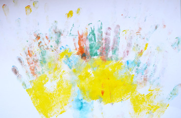 multicolored prints of hands, children's creativity, drawing