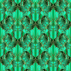 Green abstract geometric vector seamless pattern. Ornamental paisley flowers 3d background. Creative design for fabric, textile, wallpapers, panel, prints. Patterned surface striped modern texture