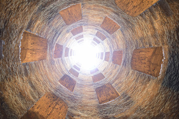St. Patrick's well, Orvieto, Italy. Historic well. Great engineering work, carried out in 1547. bottom view