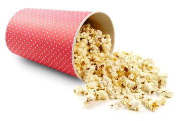 Popcorn on white background
