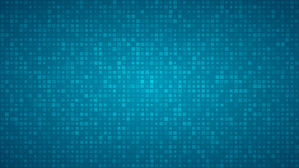 Abstract background of small squares or pixels of different sizes in light blue colors.