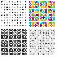 100 sports activities icons set vector in 4 variant for any web design isolated on white