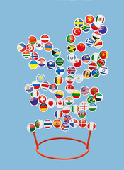 Flags of different countries of the World in the form of stickers on a metal rack in the form of a tree on a blue background