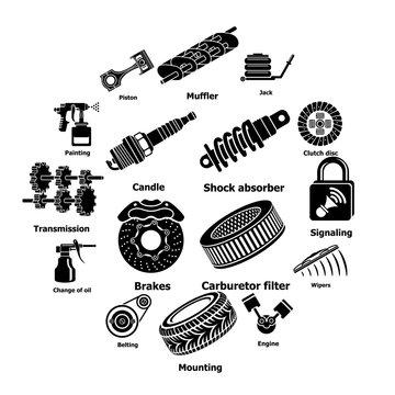 Car repair parts icons set. Simple illustration of 16 car repair parts vector icons for web