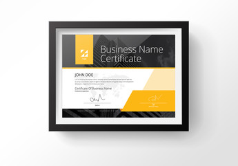 Certificate Layout With Yellow Accents