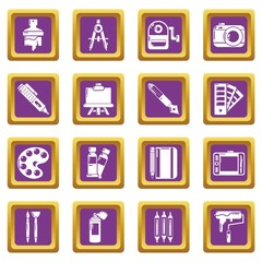 Design and drawing tools set vector purple square isolated on white background