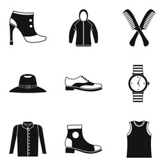 Fashion accessory icons set. Simple set of 9 fashion accessory vector icons for web isolated on white background