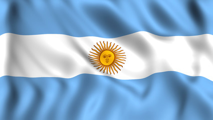 Flag of Argentina silk waving in the wind
