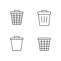 trash can line vector black icons set
