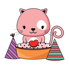 Happy birthday design with cute cat with cake and birthday hats over white background, colorful design. vector illustration