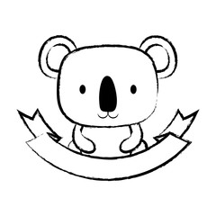 sketch of decorative emblem with cute koala icon and ribbon over white background, vector illustration