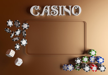 Casino background dice and chips. Online casino table concept with place for text. Top view of white dice and chips on green gold background. Casino sign. 3d rendering