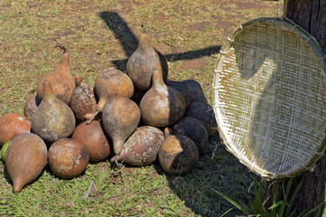 Stack of gourds in the outdoor tent