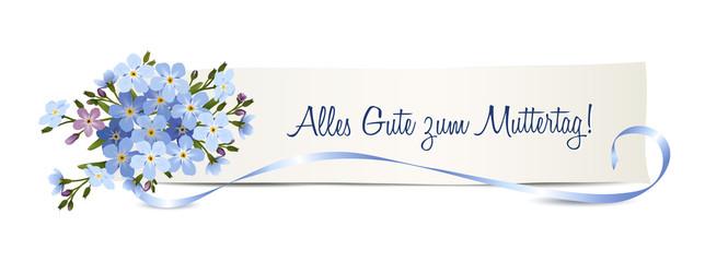 """Vergissmeinnicht Blumen zum Muttertag,  Banner mit """"Alles  Gute zum Muttertag"""", Vektor Illustration isoliert auf weißem Hintergrund"""