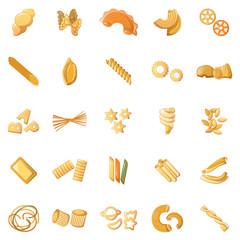 Fusilli pasta penne icons set. Cartoon illustration of 25 fusilli pasta penne icons for web