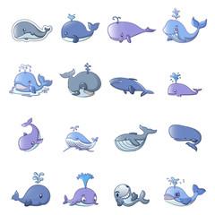 Whale blue tale fish icons set. Cartoon illustration of 16 whale blue tale fish vector icons for web