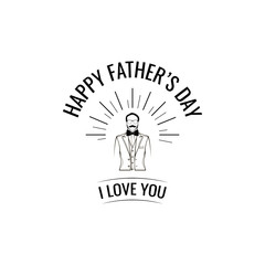 Happy fathers day card design. Man, Bow tie, Suit. I love you text. Men wearing in elegant costome. Dad greeting. Vector.