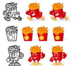 French fries cartoon set