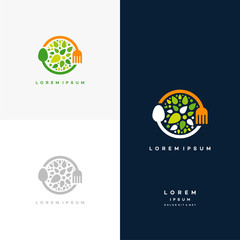 Healthy Nature food logo designs concept vector, Vegetarian food symbol Creative logo